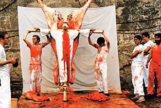 Action staged by Hermann Nitsch in 1984